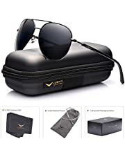 0304b562f31 LUENX Aviator Sunglasses Mens Women Polarized Black Lens Black Metal Frame  Dark 60mm with Case -