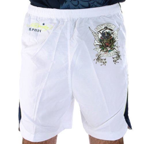 Ed Hardy Bulldog Woven Shorts - White - Small