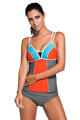 Amady Color Block Lace Tankini Women's Bikini Swimsuit