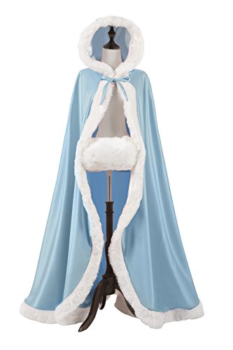 Wool Blue Powder (NUOMIQI Women's 57in Bridal Cape Wedding Cloak With Hand Muff Floor-length (Powder Blue))