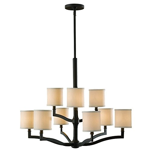 Murray Feiss Lighting F2520/6+3ORB Stelle - Nine Light Two Tier Chandelier, Oil Rubbed Bronze Finish with Cream Linen Fabric Shade