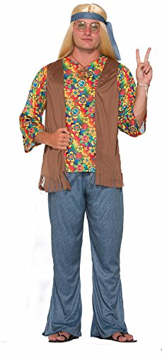 70s Costumes Couples (Adults Mens 60s 70s Groovy Peace Flower Power Hippie Costume)