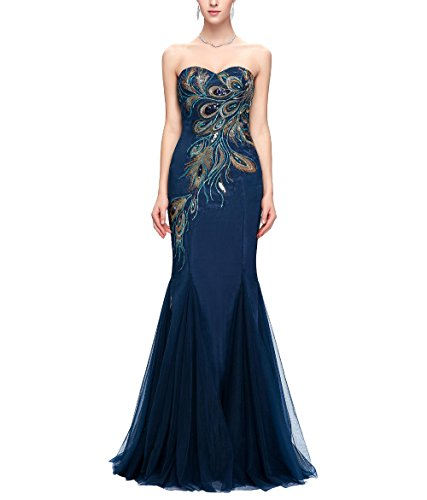 Quintion Norris Prom Dresses Long 2018 Sweetheart Peacock Embroidery Evening Gown Chiffon Empire Beaded Bodice Dress