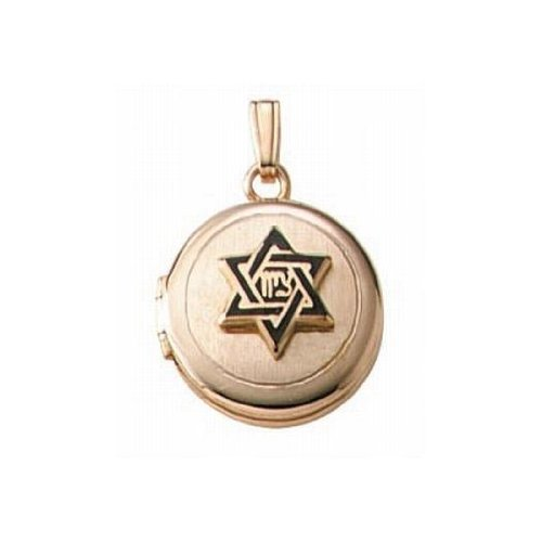Solid 14K Yellow Gold Childrens Hebrew Round Locket 1/2 Inch X 1/2 Inch Solid 14K Yellow Gold by PicturesOnGold.com