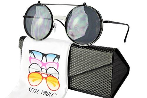 W3032-ec Style Vault Flip up Django Steampunk Metal Round Sunglasses (B3406F Black, - Circular Sunglasses Black