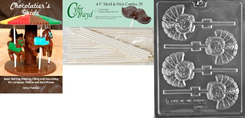 Cybrtrayd 45St25Bk-T042 'Turkey Lolly' Thanksgiving Chocolate Candy Mold with 25 4.5-Inch Lollipop Sticks and Chocolatier's Guide ()