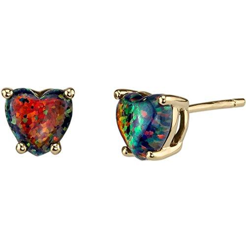 14K Yellow Gold Heart Shape Created Black Opal Stud Earrings