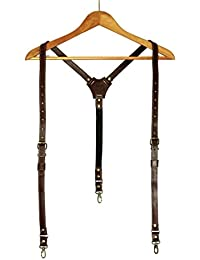 Y-back Convertible Leather Suspenders Mens Braces (full grain italian leather)