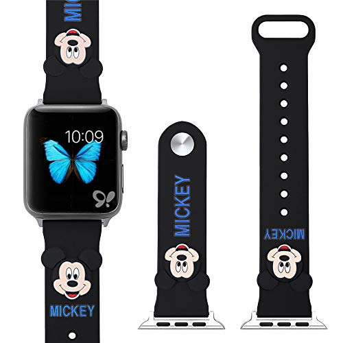 Lovely Mickey Mouse Silicone Sport Watch Band Replaceable Accessories Wrist Strap Bracelet Compatible with Apple Watch Series 4 3 2 1 iWatch 44mm 42mm 40mm 38mm for Kids (Black, 44mm)