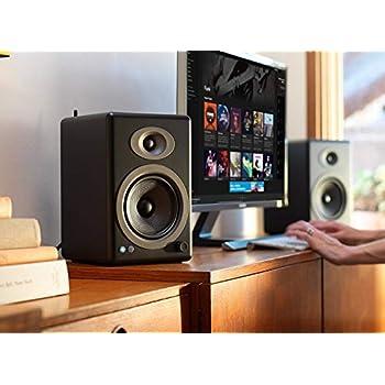 Image of Audioengine A5+ 150W Wireless Powered Bookshelf Speakers, Bluetooth aptX HD 24 Bit DAC, Built-in Analog Amplifier & Remote Control (Black) Bookshelf Speakers