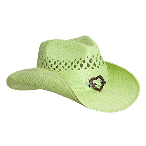Vamuss Lime Cute Toyo Straw Boho Cowboy Hat W/Shapeable Brim and Heart Design -