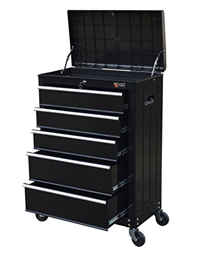 "TB3205X-BK Excel 22"" Roller Tool Cabinet with 5 Ball Bearing Drawers, 22in, Black"