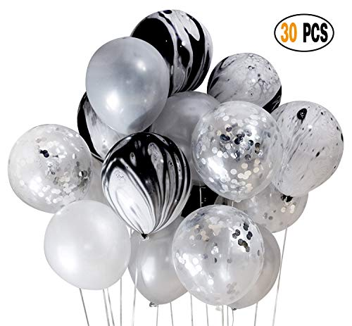 DIvine 30 Pcs/lot Party Decorations Set Combined Balloons, Silver Confetti and Black Agate Black Silver Latex Balloons For Halloween Wedding Birthday Baby Showers Christmas Festival Ceremony and Party