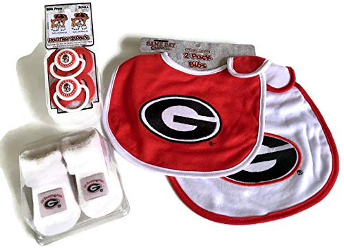 new arrival f916b 8e703 Georgia Bulldogs Baby Booties Gift Set Red UGA Pacifiers Toxin-Free 2 Bibs  NCAA Infant Socks Bulldawgs