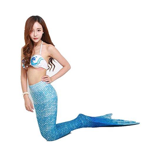 2pcs Sirena Set up E Bagno Reggiseno Jysport Sottili Con Coda Push Costume Bikini Da Bretelle Celeste Blue aq00pdw