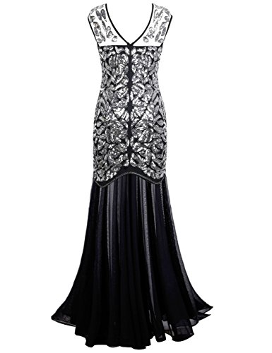Prettyguide Women S 1920s Black Sequin Gatsby Maxi Long