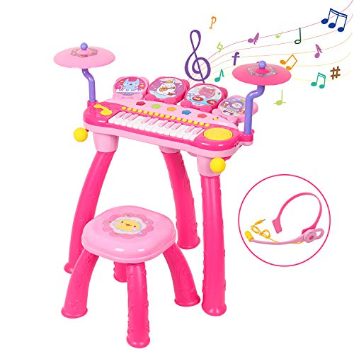 Shayson Kids Piano Keyboard with DJ Drum, Multi-Functional Electronic 24 Key Piano Music Learning Keyboard Toys with Microphone, Birthday Gifts for Toddlers, Baby, Kids