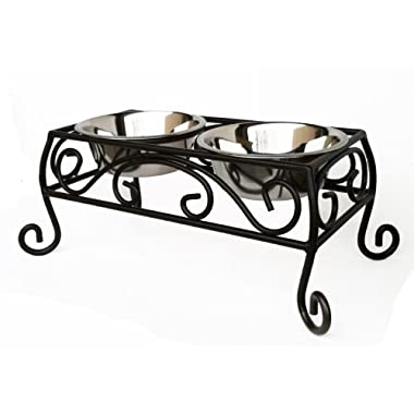 Noblesse Double Diner - Raised Feeder for Dogs - Med Size 7  Tall - Wrought Iron Pet Feeding Station