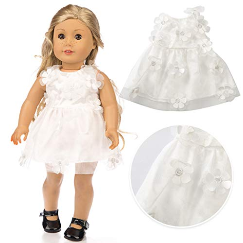 AZRtoys Beautiful Princess Dresses for American Girl Doll Clothes Outfits Costumes Accessories - Flower Decor Tutu Dress for 18 Inch Dolls (White) -