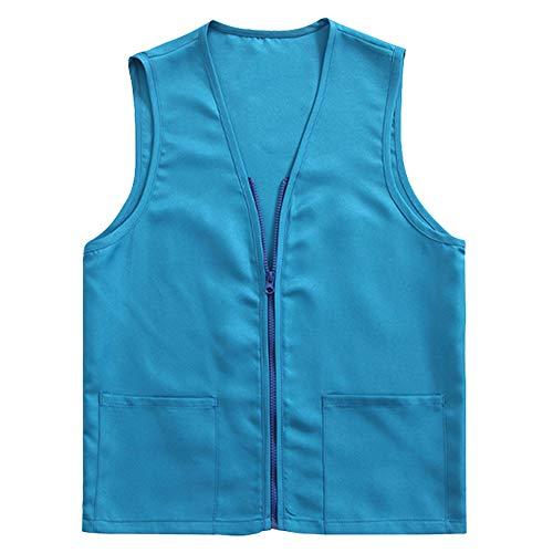 TOPTIE Adult Volunteer Activity Vest Supermarket Uniform Vests Clerk Workwear-Light Blue-S