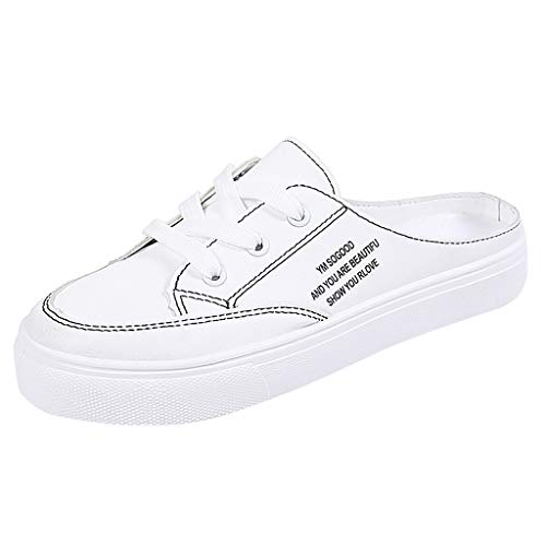 QBQCBB Women's Flat Slip-on Casual Shoes with Canvas Hook and Loop Fasteners(White,38) ()
