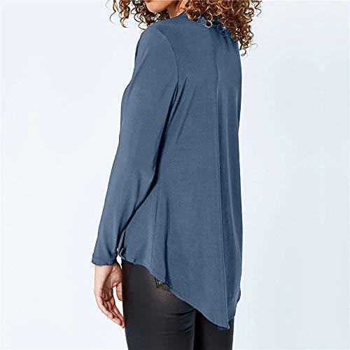 Automne Shirt Bureau en 2018 V de Femme Bleu Ciel nbsp; Manches Longues pour T Blouse col Femmes qxrIPYEIw