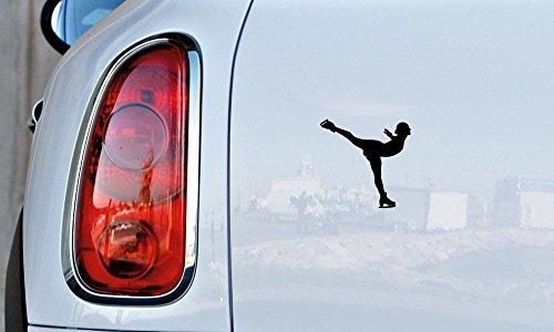 Figure Skater Girl Woman Car Vinyl Sticker Decal Bumper Sticker for Auto Cars Trucks Windshield Custom Walls Windows Ipad Macbook Laptop and More (BLACK) -