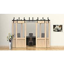 WINSOON Modern Furniture Prime Antique Complete Bending Roller Metal Steel Sliding Bypass Barn Door Hardware Track Rail Hanging 4 Doors Kit (10FT / Four Doors Set)