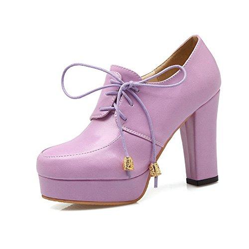 AgooLar Damen Hoher Absatz PU Rein Ziehen auf Pumps Schuhe, Lila, 42