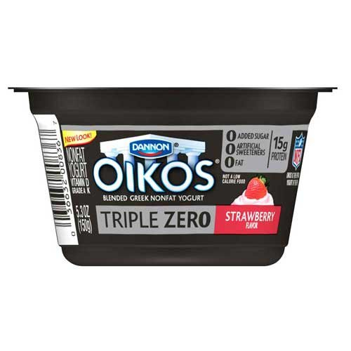 - Oikos Triple Zero Strawberry Greek Yogurt, 5.3 Ounce - 12 per case.