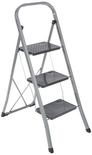 axentia Klapptritt 251202 für den Innen- und Außenbereich, 3-stufige Klappleiter aus Stahl, Trittleiter mit Sicherheitsbügel und Sicherheitshaken gegen unabsichtliches Schließen der Leiter, mit geriffelten Stufen gegen Ausrutschen, ca. 46 x 71 x 104 cm
