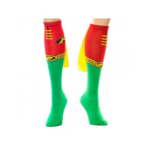 Super Hero DC Comics (Batman) Robin Knee High Cape Socks By Superheroes (Batman And Robin Shoes)
