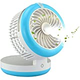 Geelyda Table Fan Portable Mini Misting Fan Humidifier USB Fan Cooling Mist Fan Rechargeable Humidifier Personal Fan Desktop Fan with Built-in Battery (Blue)