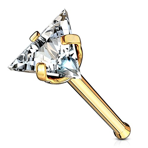MoBody 20G Triangle CZ Top Nose Bone Stud Ring 316L Surgical Steel Assorted Color Cubic Zirconia Nose Piercing (Gold-Tone/Clear CZ)