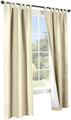 Commonwealth Home Fashions 70292-153-103-54 Thermalogic Insulated Solid Color Tab Top Curtain Pairs 54 in.44 Natural