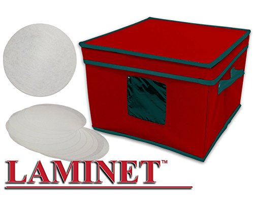 LAMINET Dinnerware Storage Box with Lid & Handles - Fits 12 Salad Plates Sturdy RED Fabric with GREEN Trim - Includes Plate Separators! - (10