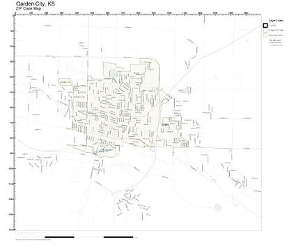 Garden City Ks >> Amazon Com Zip Code Wall Map Of Garden City Ks Zip Code