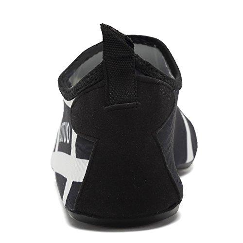 EQUICK Frauen Wasser Schuhe Quick-Dry Verschnaufpause Sport Haut Schuhe Barfuß Anti-Rutsch-Multifunktionssocken Yoga Übung 0schwarz