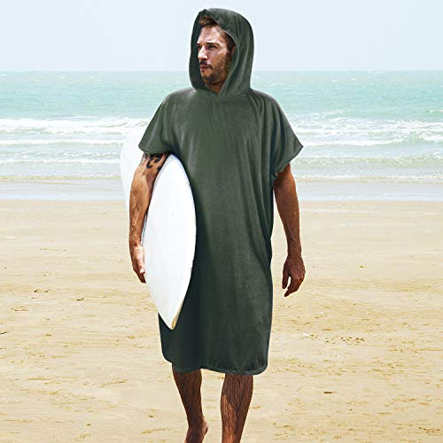 Microfiber Sleeveless - Tirrinia Surf Beach Wetsuit Changing Towel with Hood, Super Absorbent Microfiber Bath Robe Poncho for Men Women Bath/Shower/Pool/Swim Green