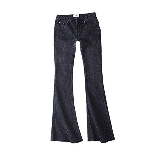 Keephen Pantalones de Mezclilla Vintage para Mujeres Pantalones de Cintura Elástica Suave Alta Pantalones Acampanados Delgados Gris Oscuro