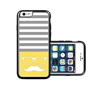RCGrafix Brand Hipster-mustache Lemon Yellow & Grey Stripes White iPhone 6 Case - Fits NEW Apple iPhone 6