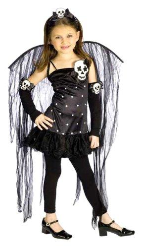 FunWorld Junior's Teen Skull Fairy, Black, L 12-14 (Skull Fairy Halloween Costume)