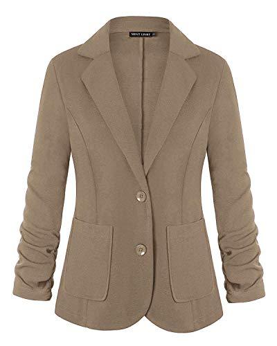 Unifizz Womens Casual Basic Work Office Cardigan Tuxedo Blazer Boyfriend Jacket Open Front XXL Khaki