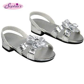 55643d4e7b248 Sophia's Silver 18 Inch Doll High Heels, Fits 18 Inch American Girl Dolls &  More! Doll Shoe Heels W/ Flower & Jewel.