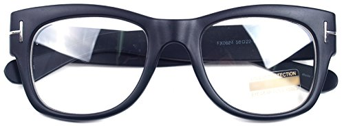 Oversized Square Thick Horn Rimmed Clear Lens Eye Glasses Frame Non-prescription (Matt Black, - Eyeglasses Thick Frame