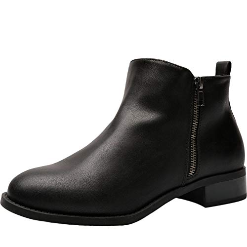 Women's Wide Width Ankle Boots - Classic Low Heel Side Zipper Comfortable Booties.(180527,Black,11WW)]()