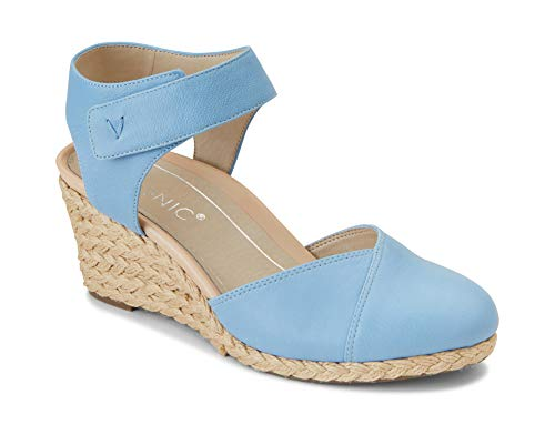 Vionic Women's Aruba Loika Backstrap Wedge - Ladies Wedges with Concealed Orthotic Support Light Blue 10 M - Concealed Wedge