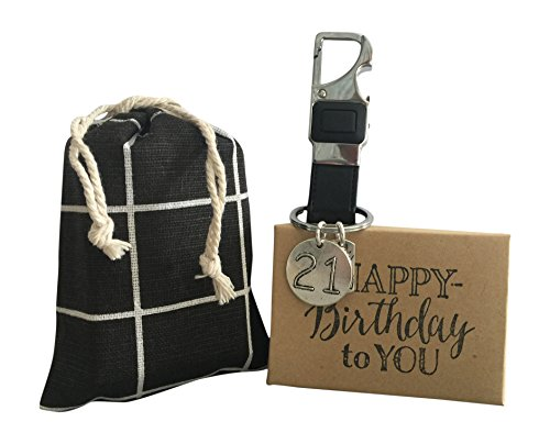 21st Birthday Key Chain Gift Genuine Soft Black Leather Masculine Key Chain with LED Light in Gift Bag Mens 21st Birthday Key ()