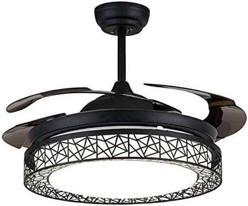 OUKANING - Lámpara de techo con mando a distancia, color negro y ...