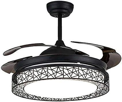 OUKANING Ventiladores de Techo de 42 Pulgadas Luces LED 4 aspas retráctiles Ventilador de Techo Lámpara de Cambio de Tres Colores con Control Remoto (Negro)